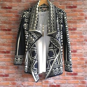 Woven Heart graphic print shawl front cardigan